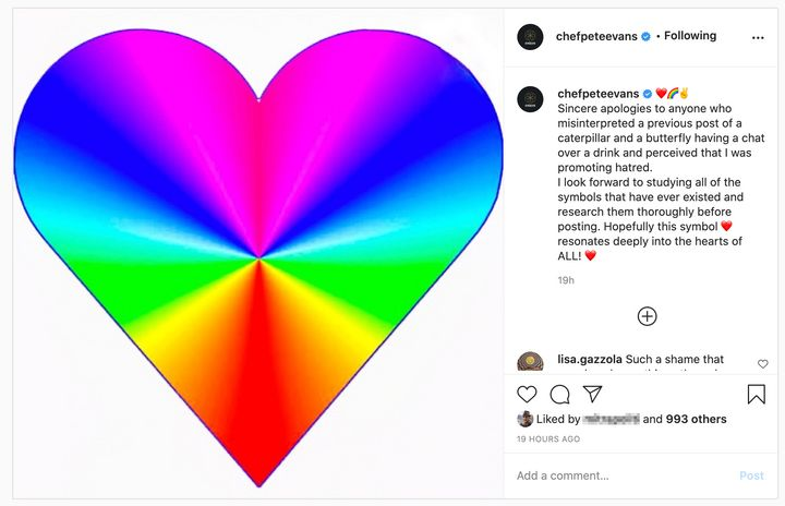 Pete Evans responded to the backlash and apologised via this Instagram post on Monday evening.