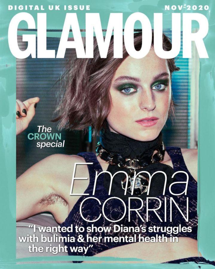 Emma Corrin pour la couverture du mois de novembre de Glamour UK