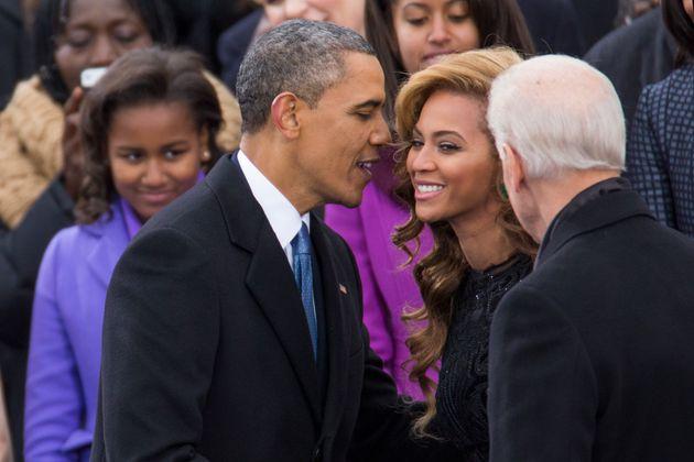 Beyonce, ici avec Barack Obama lors de son investiture pour un second mandat en janvier 2013, figure...