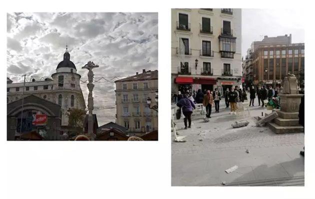 Daños en el cruceiro de la plaza Jacinto Benavente (Madrid). A la izquierda, como era antes de...