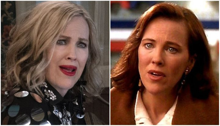 Catherine O'Hara as Moira Rose in Schitt's Creek (left) and as Kate McCallister in Home Alone