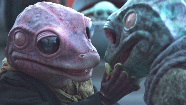 Frog Lady y Frog Man en 'The Mandalorian'.