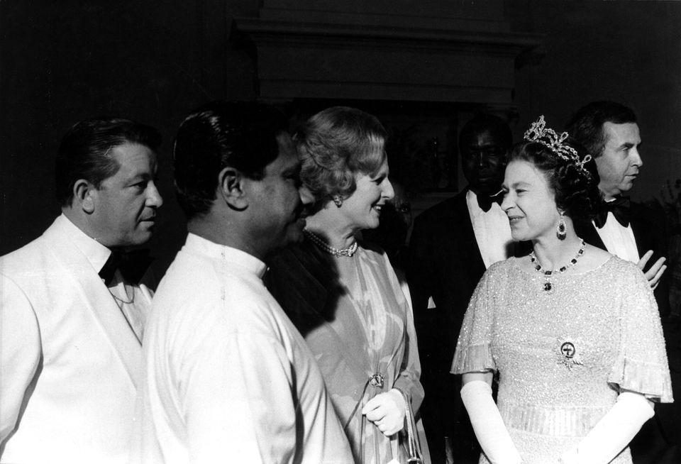 Margaret Thatcher and the Queen in