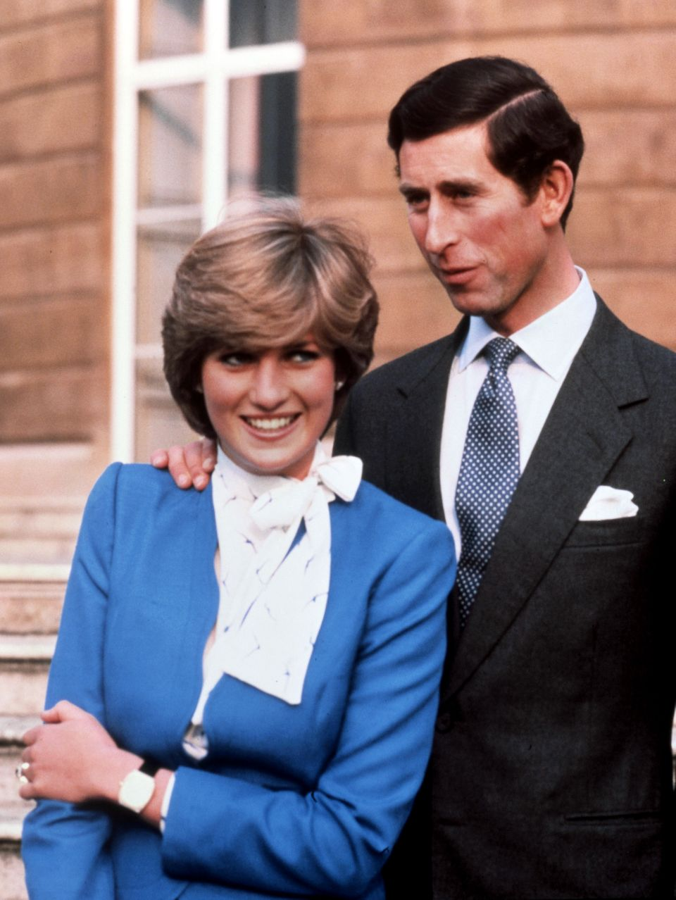 Prince Charles and Lady Diana Spencer on their engagement day at Buckingham