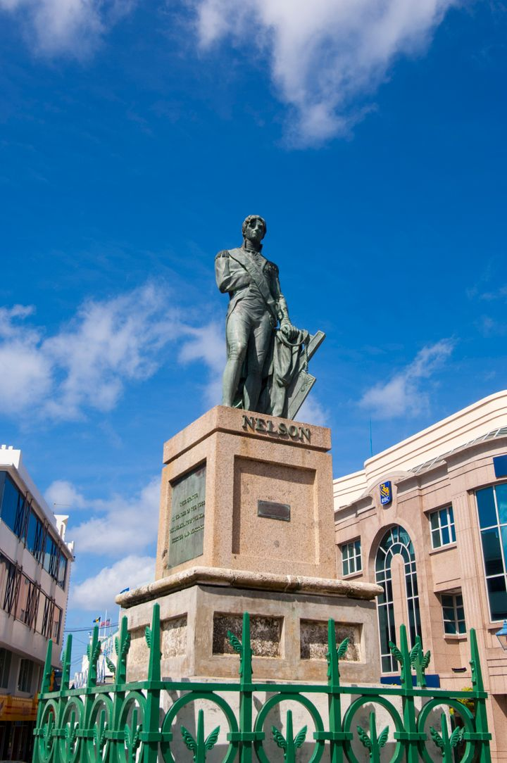 Statue of Lord Horatio Nelson in Bridgetown, the capital city of Barbados, an island in the Caribbean.