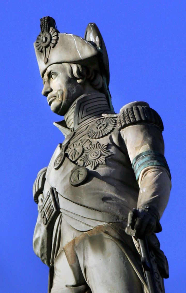 The statue of Lord Admiral Horatio Nelson stands atop the Column in Trafalgar Square in London, pictured Jan. 19, 2005.