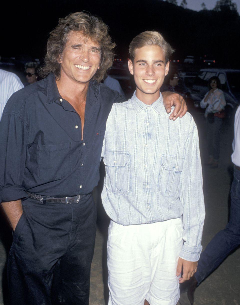 Michael Landon and Christopher Landon at a benefit gala on July 29, 1989, in Malibu,