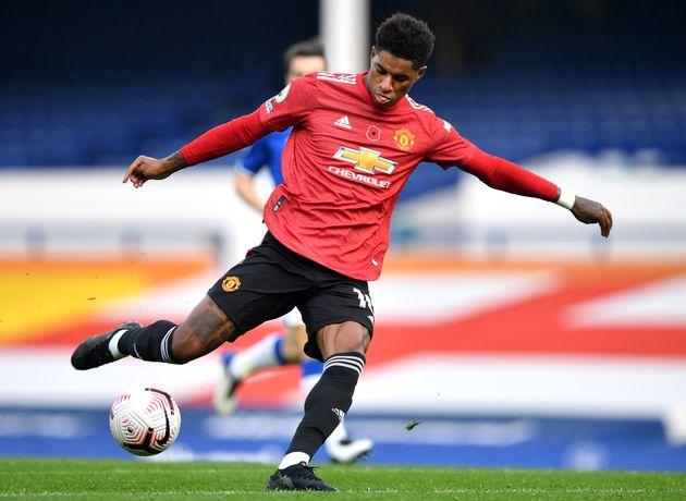 Le footballeur de Manchester United Marcus Rashford (ici contre Everton) s'est lancé dans un nouveau...