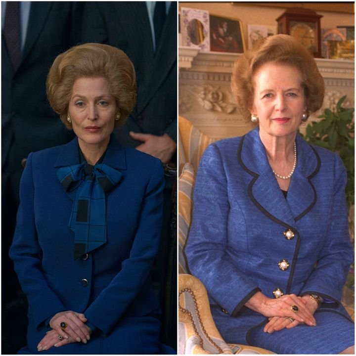 Gillian Anderson as Margaret Thatcher in The Crown and, on the right, actual Margaret Thatcher