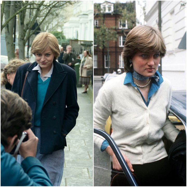 Princess Diana and, on the right, Princess Diana in The Crown, played by Emma Corrin