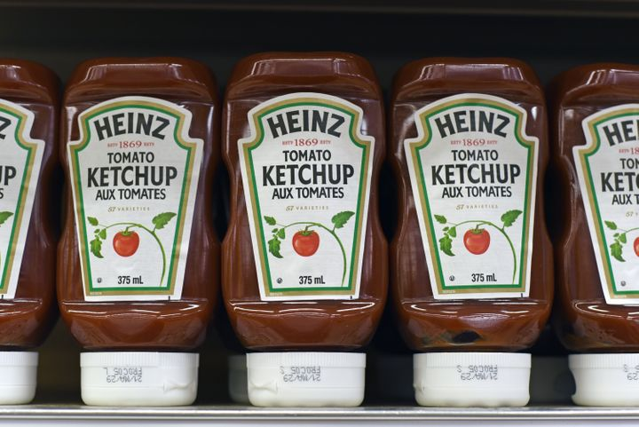 Bottles of Heinz ketchup for sale in a grocery store in Victoria, B.C. on Sept. 2, 2020.