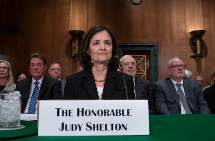 President Donald Trump's nominee to the Federal Reserve, Judy Shelton, appears before the Senate Banking Committee for a conf