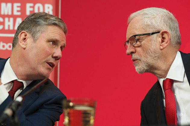 Former Labour Party Jeremy Corbyn (right) alongside Keir Starmer during a press conference in central London.