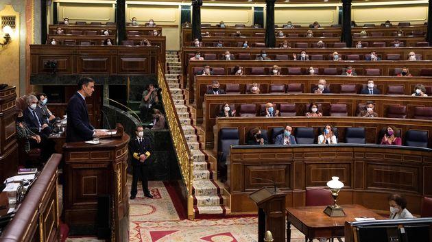 El presidente, Pedro Sánchez, durante una intervención en el Congreso de los