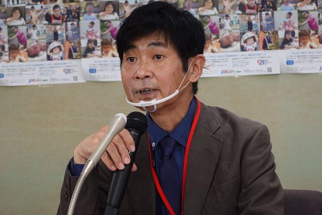 会見に出席した日本ダウン症協会代表理事・玉井邦夫さん