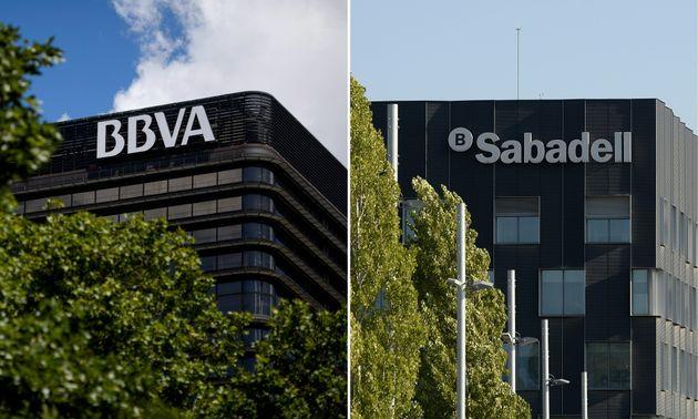 Las sedes de BBVA en Madrid y Sabadell en Sant Cugat de