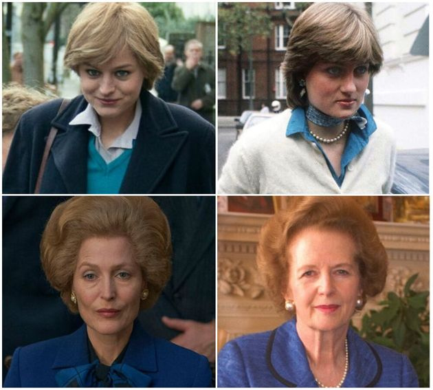 Top: Emma Corrin as Princess Diana and (bottom) Gillian Anderson as former PM, Margaret