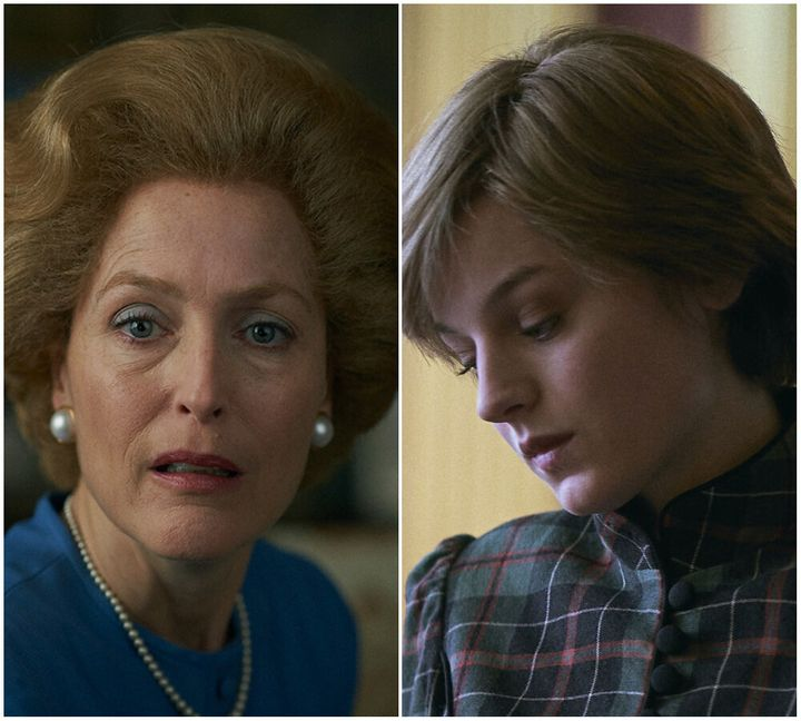 (L-R) Gillian Anderson as Margaret Thatcher and Emma Corrin as Princess Diana in The Crown.