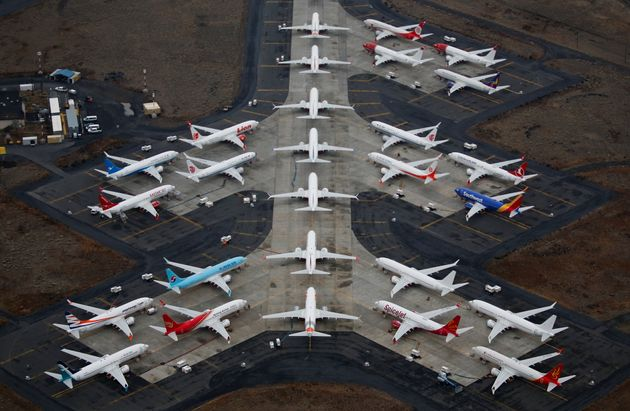 Grounded Boeing 737 MAX aircraft are seen parked at Grant County International Airport in Moses Lake,...