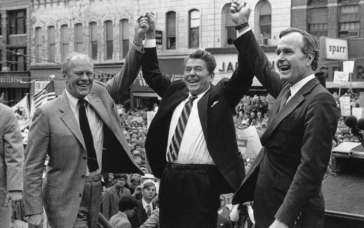 The U.S. politics of care changed under Ronald Reagan shown here on Nov. 3, 1980, with former president Gerald Ford and his running mate, George H.W. Bush in Peoria, Ill.