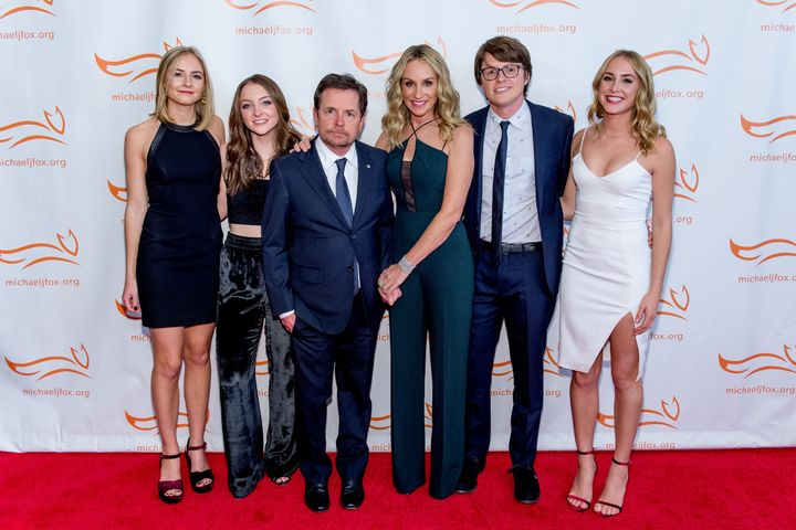 Michael J. Fox and his wife Tracy Pollan, centre, with their kids Esme, Schuyler, Sam andAquinnah Kathleen at a 2017 fundraiser for the Michael J. Fox Foundation.