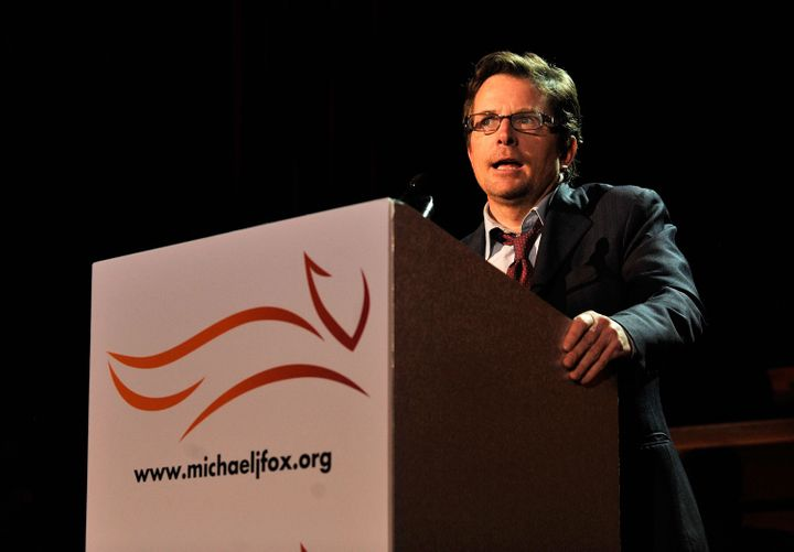 Michael J. Fox speaking onstage at a fundraiser for the Michael J. Fox Foundation on Nov. 21, 2009.