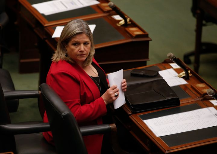 Ontario NDP Leader Andrea Horwath looks on inside the Ontario legislature at Queen's Park in Toronto, Ont. on May 19, 2020.