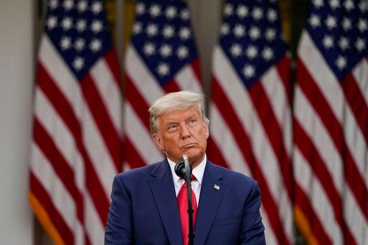President Donald Trump speaks in the Rose Garden of the White House, Friday, Nov. 13, 2020, in Washington.