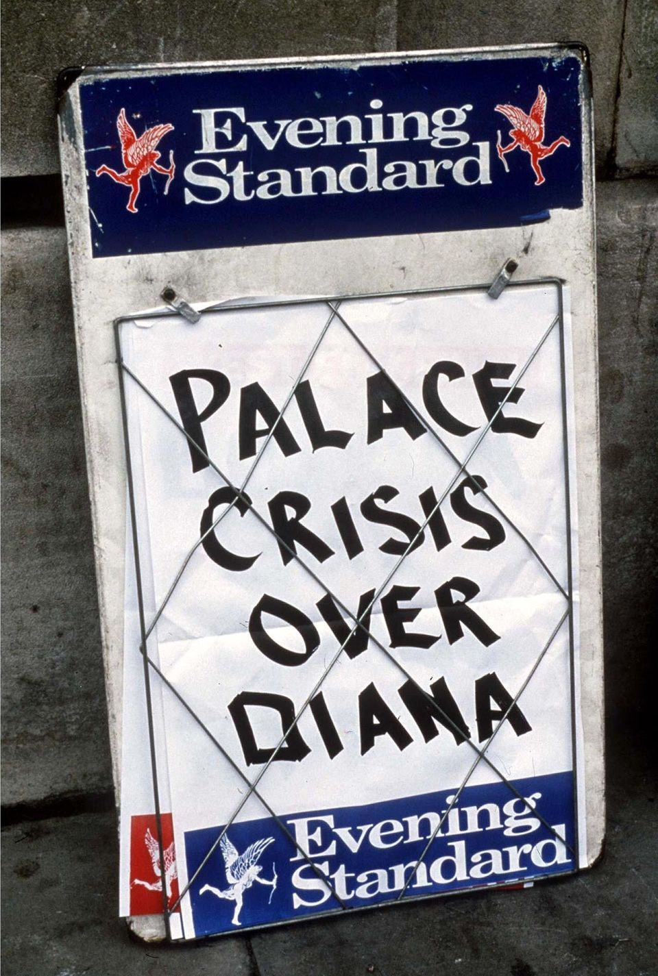 The palace was left reeling after the interview was broadcast - as this Evening Standard sign from 1995 implies