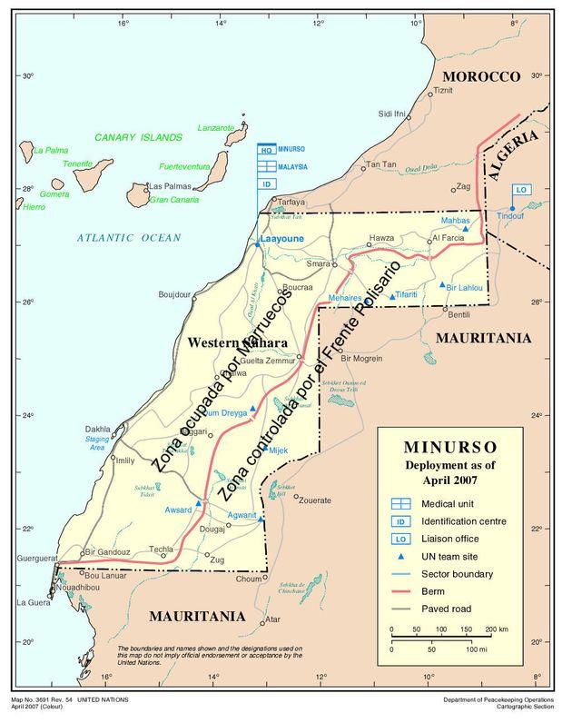 Mapa de la misión de la ONU en el Sáhara Occidental