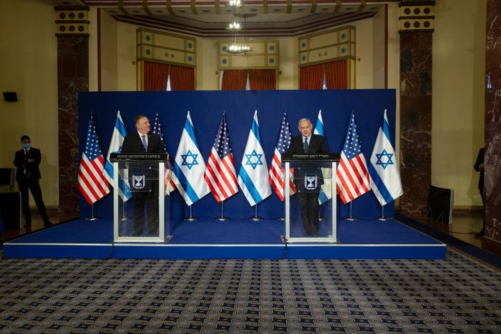 Pompeo is pictured with Netanyahu following a meeting in Jerusalem on Thursday.