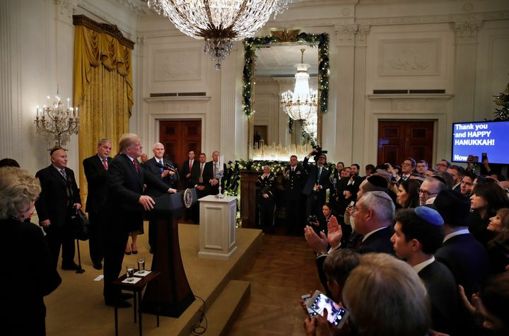 A crowded scene from the White House's 2018 Hanukkah party.