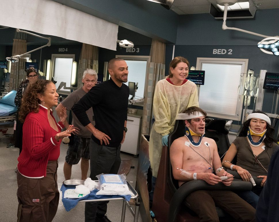 "Allen directing an episode of ""Grey's Anatomy."""