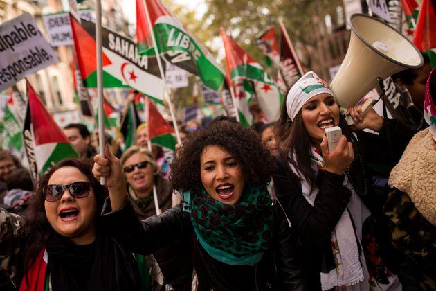 Protesta en favor de los saharauis en Madrid, el 12 de noviembre de
