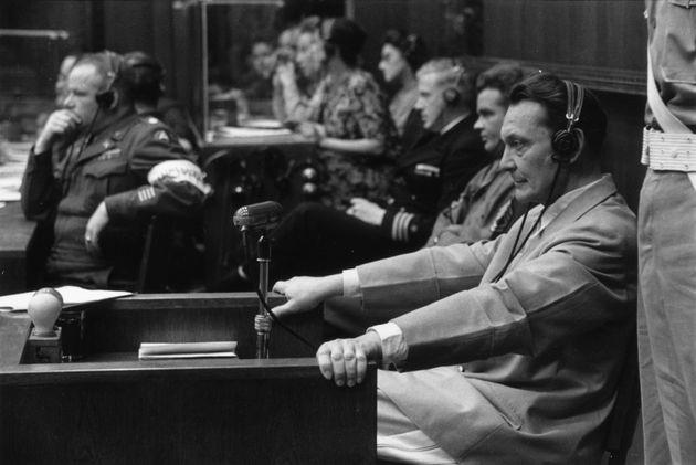 El líder nazi Hermann Goering (1893-1946), durante los juicios de Nuremberg, en los que fue condenado...