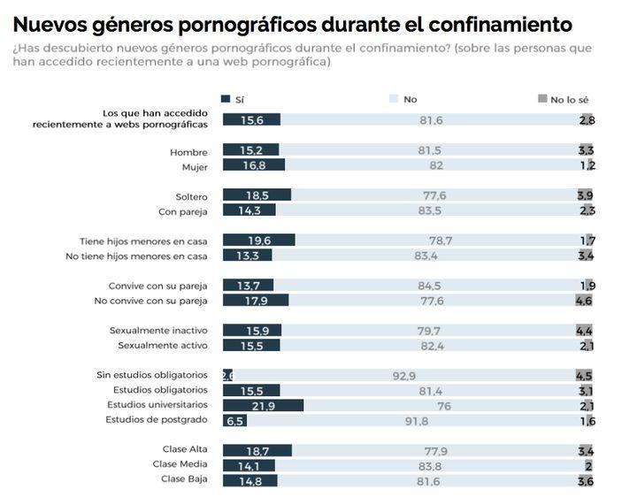 Estudio sobre el consumo de porno en España durante el confinamiento.