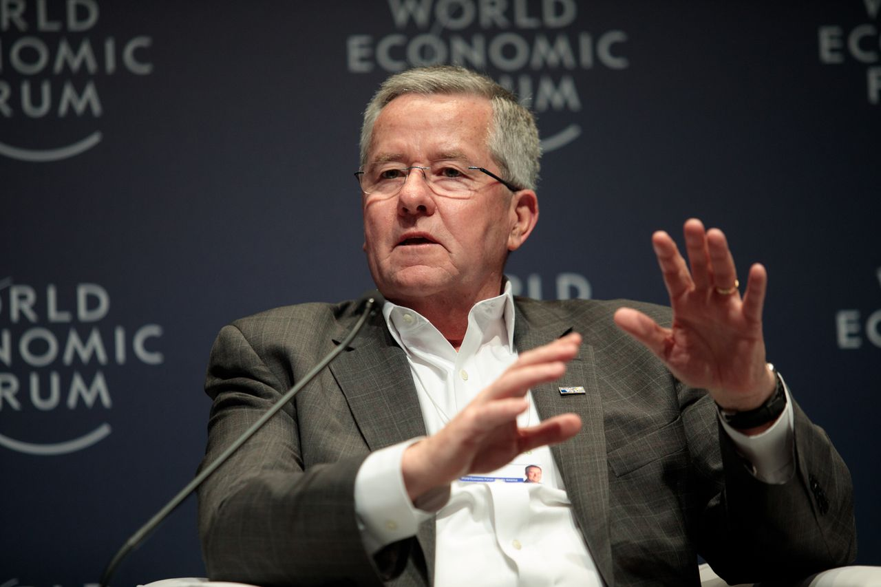 Brian Gallagher, president and chief executive officer of United Way Worldwide, speaking during the 2018 World Economic Forum on Latin America in São Paulo.