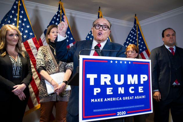 Rudy Giuliani, personal attorney for President Donald Trump, held a news conference at the Republican...