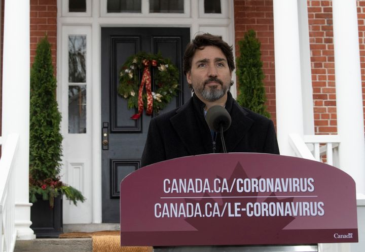 Prime Minister Justin Trudeau speak to the media about the COVID-19 virus outside Rideau Cottage in Ottawa on Nov. 20, 2020.