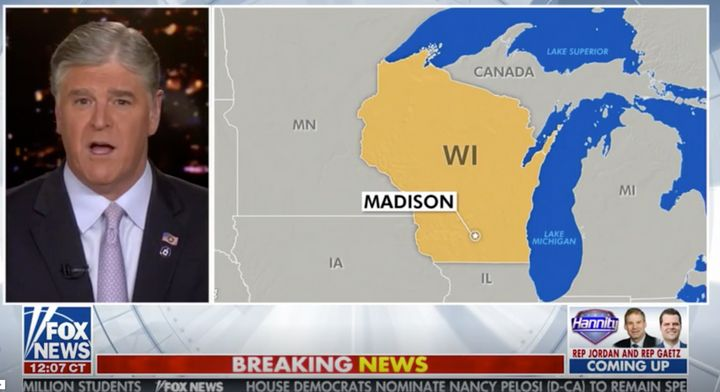 "A screenshot from Wednesday's Fox News broadcast of ""Hannity,"" showing a map with part of Michigan labelled as Canada."