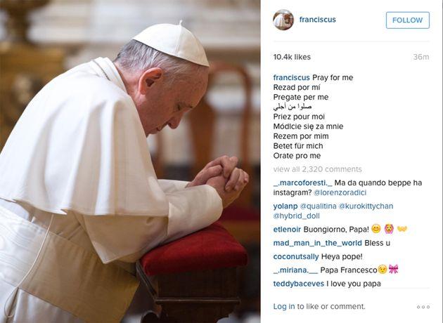 ローマ教皇の公式インスタアカウント