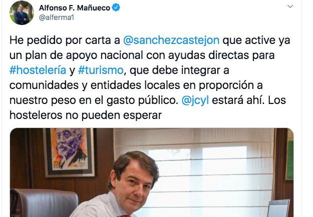 Tuit de Alfonso Fernández Mauñeco, presidente de Castilla y