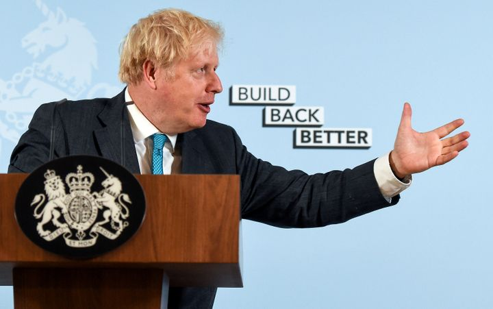 British Prime Minister Boris Johnson delivers a speech at Exeter College Construction Centre, Exeter, U.K., Sept. 29, 2020. Canada and Britain have struck an interim trade deal.
