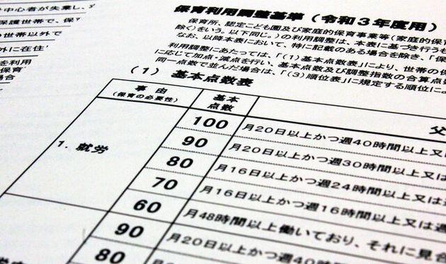 大阪市の保育園の入園選考のポイントを示した表。週4日(月16日)勤務では、週5日(月20日)より、基本点数が低くなっている