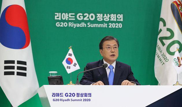 El presidente Moon Jae-in habló en la cumbre de 20 países importantes celebrada la noche del 21: