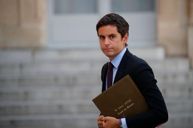 Gabriel Attal arrivant à l'Elysée le 7 juillet 20202 (AP Photo/Francois
