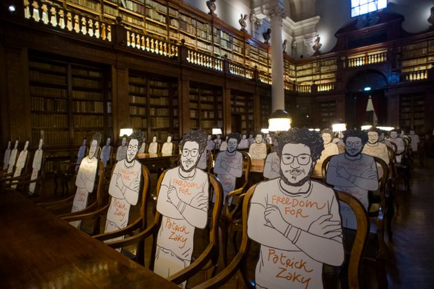BOLOGNA, ITALY - JULY 16: The silhouettes of Patrick Zaki's drawing by the artist Gianluca Costantini...