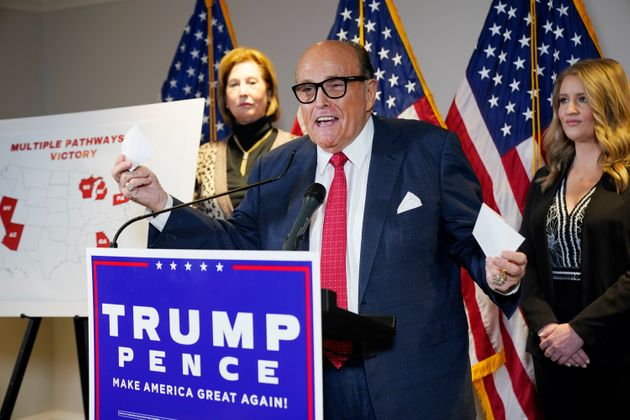 Former Mayor of New York Rudy Giuliani, a lawyer for President Donald Trump, speaks during a news conference...