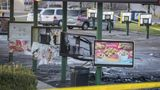 This Sunday, Nov. 22, 2020 photo shows the scene after a shooting at a Sonic restaurant on Saturday night where two people were killed and two others wounded in Bellevue, Neb. Video obtained by news outlets showed a vehicle on fire in the parking lot. (Chris Machian/Omaha World-Herald via AP)