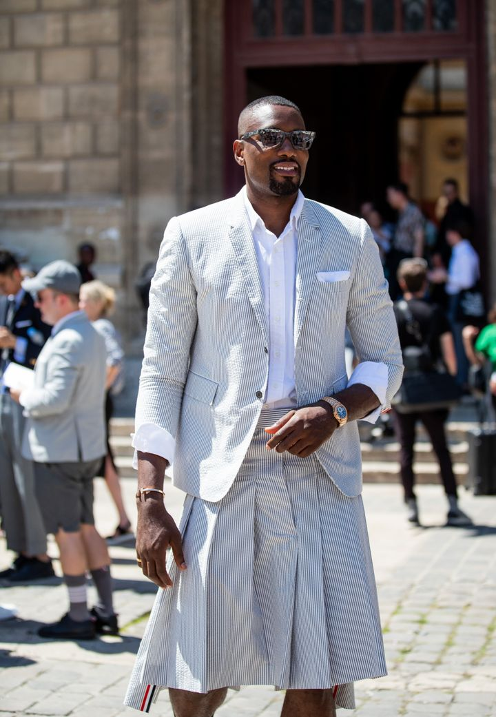 Serge Ibaka outside the Thom Browne Menswear Spring/Summer 2020 show on June 22, 2019 in Paris, France.